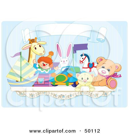 Royalty-Free (RF) Clipart Illustration of a Toy Shelf With Stuffed Animals And A Jack In The Box Under A Blank Banner Against A Blue Wall by Pushkin