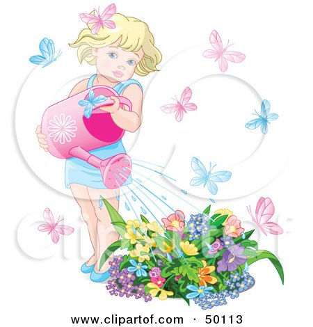 Royalty-Free (RF) Clipart Illustration of a Little Blond Girl Surrounded By Butterflies, Watering Her Flower Garden by Pushkin