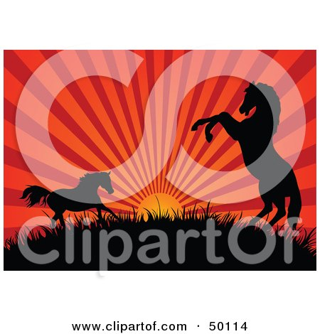 Royalty-Free (RF) Clipart Illustration of a Red Sunset Beaming Behind Silhouetted Horses On A Hill by Pushkin