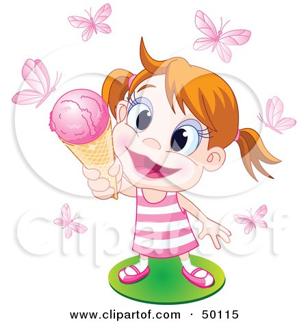 Happy Little Girl Holding Up An Ice Cream Cone To Pink Butterflies Posters, Art Prints