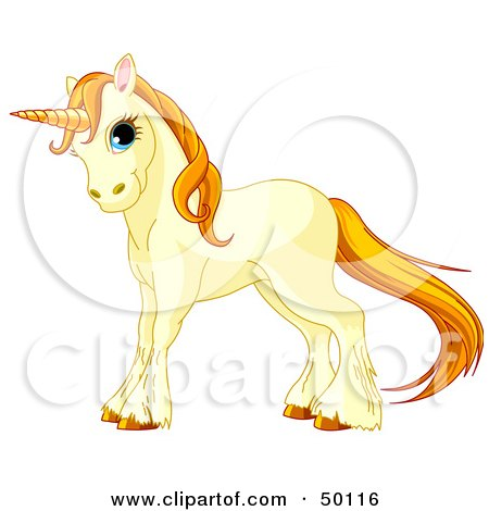 Royalty-Free (RF) Clipart Illustration of a Beige Unicorn With Golden Hooves, Hair And Horn by Pushkin
