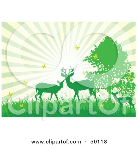 Royalty-Free (RF) Clipart Illustration of a Bursting Sky Behind Green Silhouetted Deer With Yellow Butterflies by Pushkin
