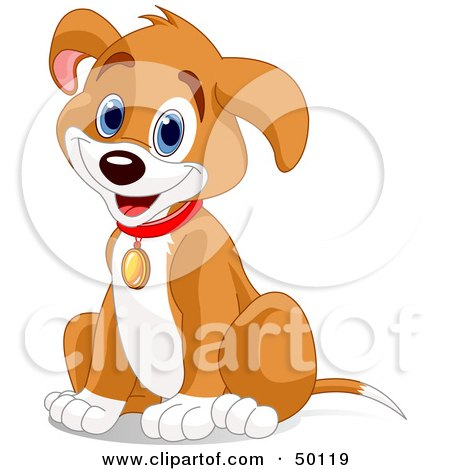 Royalty-Free (RF) Clipart Illustration of a Hyper Puppy Dog Sitting And Wearing A Collar by Pushkin