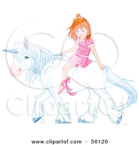 Royalty-Free (RF) Clipart Illustration of a Little Princess Riding a White Unicorn by Pushkin