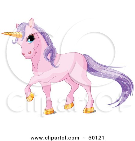 Royalty-Free (RF) Clipart Illustration of a Magical Purple Unicorn With Golden Hooves And A Horn And Sparkling Hair by Pushkin