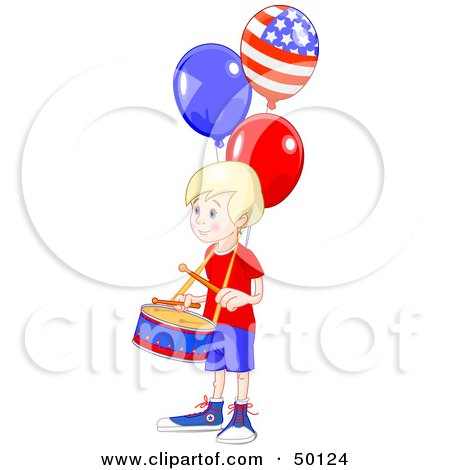 Royalty-Free (RF) Clipart Illustration of a Blond American Drummer Boy With Patriotic Balloons by Pushkin