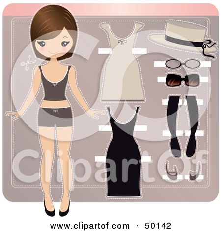 Royalty-Free (RF) Clipart Illustration of a Paper Doll In Underwear, With Beige And Black Accessories And Dresses by Melisende Vector