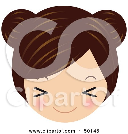 Royalty-Free (RF) Clipart Illustration of a Brunette Avatar Face Closing Her Eyes by Melisende Vector