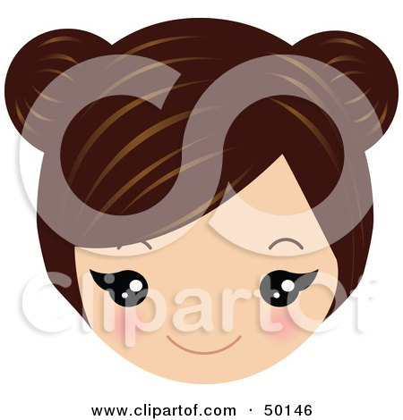 Royalty-Free (RF) Clipart Illustration of a Brunette Avatar Face Smiling by Melisende Vector