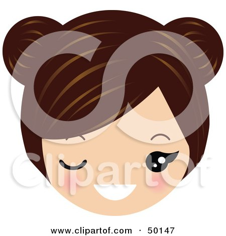 Royalty-Free (RF) Clipart Illustration of a Brunette Avatar Face Winking by Melisende Vector