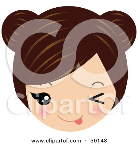 Royalty-Free (RF) Clipart Illustration of a Brunette Avatar Face Teasing by Melisende Vector