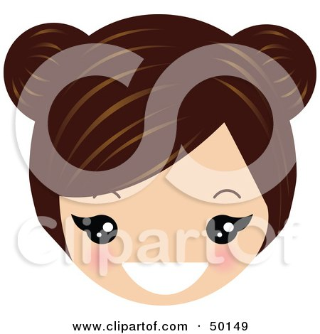 Royalty-Free (RF) Clipart Illustration of a Brunette Avatar Face Grinning by Melisende Vector