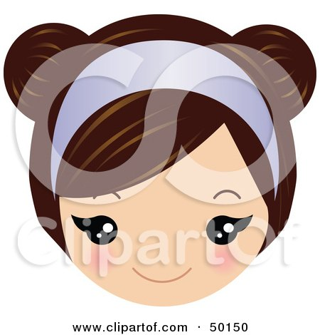Royalty-Free (RF) Clipart Illustration of a Brunette Girl's Face Wearing A Purple Headband by Melisende Vector
