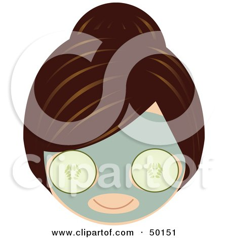 Royalty-Free (RF) Clipart Illustration of a Brunette Girl's Face Wearing A Cucumber Facial Mask by Melisende Vector