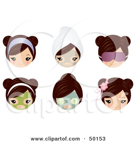 Royalty-Free (RF) Clipart Illustration of a Digital Collage Of A Brunette Girl's Face With Spa Treatments And Accessories by Melisende Vector