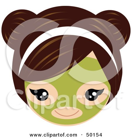 Royalty-Free (RF) Clipart Illustration of a Brunette Girl's Face Wearing A Green Facial Mask by Melisende Vector