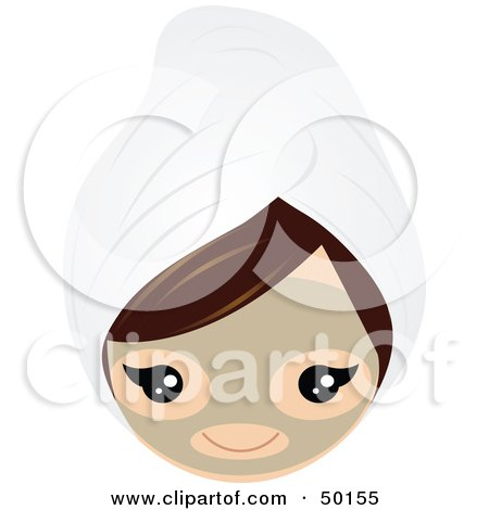 Royalty-Free (RF) Clipart Illustration of a Brunette Girl's Face Wearing A Clay Mask And A Head Towel by Melisende Vector