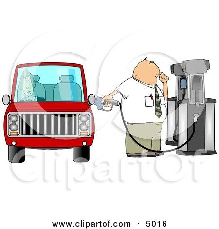 Fuel Attendant Pumping Unleaded Gas Into a Woman's Car - Transportation Clipart Posters, Art Prints