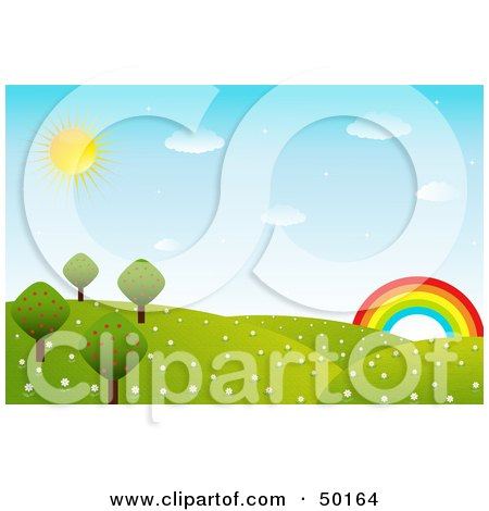 Beautiful Landscape Of Rolling Hills, Flowers And Trees With Blue Skyes And A Rainbow Under The Sun Posters, Art Prints