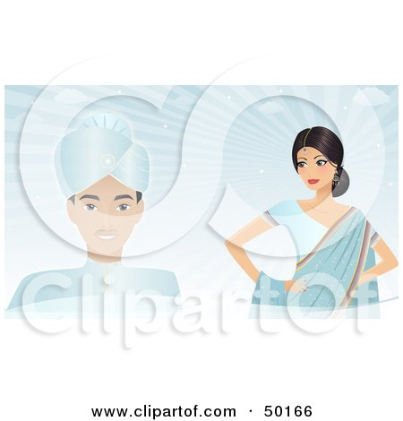 Royalty-Free (RF) Clipart Illustration of an Indian Groom And Bride Against A Blue Background by Melisende Vector