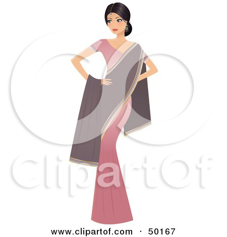 Royalty-Free (RF) Clipart Illustration of a Graceful Indian Actress In A Pink Dress And Purple Shawl by Melisende Vector