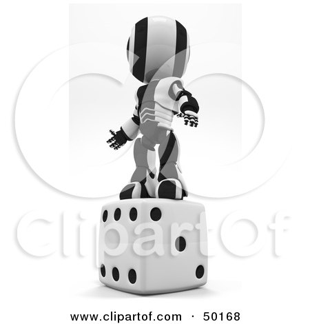 Royalty-Free (RF) Clipart Illustration of a 3d Black And White Ao-Maru Robot Standing On Dice by Leo Blanchette