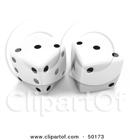 Royalty-Free (RF) Clipart Illustration of White 3d Dice With Doubles On Threes by Leo Blanchette