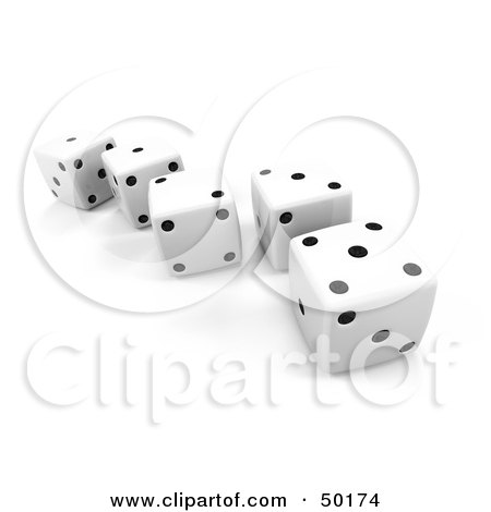 Royalty-Free (RF) Clipart Illustration of a Line Of White 3d Dice With Black Dots by Leo Blanchette