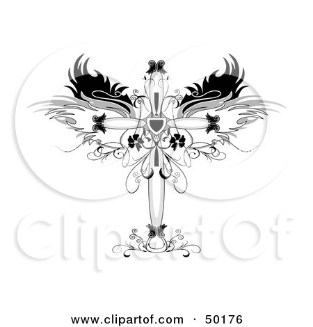 Royalty-Free (RF) Clipart Illustration of an Ornamental Cross With Wings And Floral Designs by C Charley-Franzwa