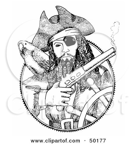 Royalty-Free (RF) Clipart Illustration of a Black And White Medallion Of A Pirate Steering A Ship, Holding A Pistil by C Charley-Franzwa