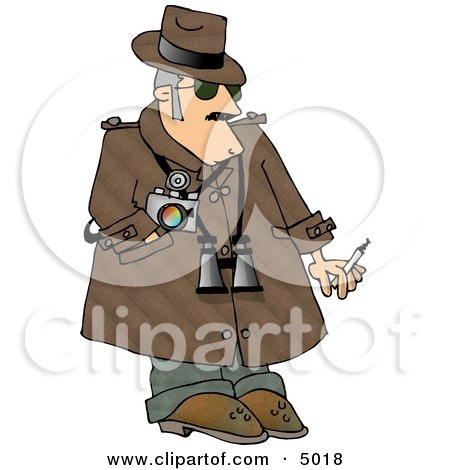 Humorous Private Eye Detective Clipart Image by djart