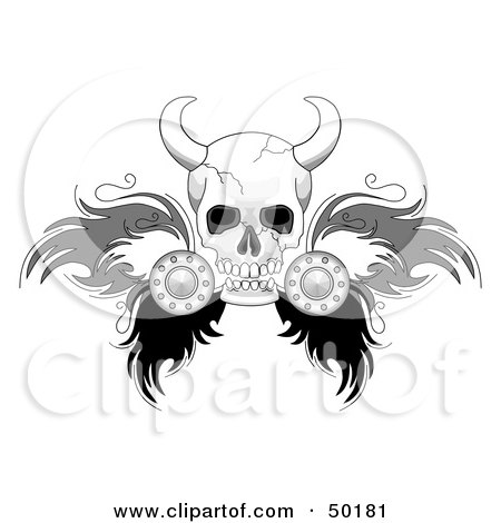 Viking Skull With Feathered Wings Posters, Art Prints