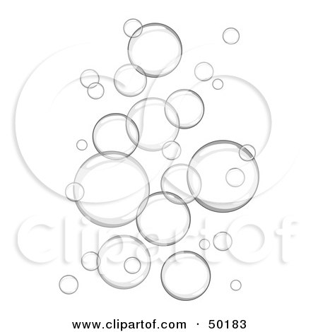 Royalty-Free (RF) Clipart Illustration of a Background of Floating Gray Bubbles by C Charley-Franzwa