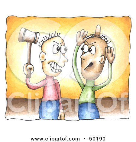 Royalty-Free (RF) Clipart Illustration of a Man Bonking Another On The Head With A Hammer During A Conflict by C Charley-Franzwa
