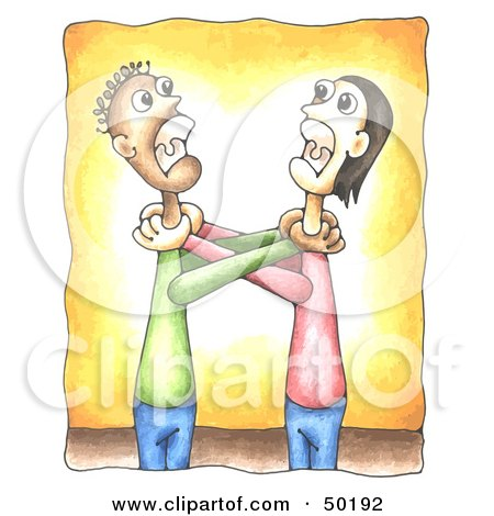 Royalty-Free (RF) Clipart Illustration of Two Grown Men Angrily Grabbing Eachother's Throats by C Charley-Franzwa