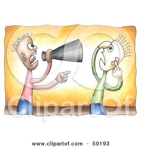 Royalty-Free (RF) Clipart Illustration of a Black Businessman Shouting Through A Megaphone At An Employee by C Charley-Franzwa