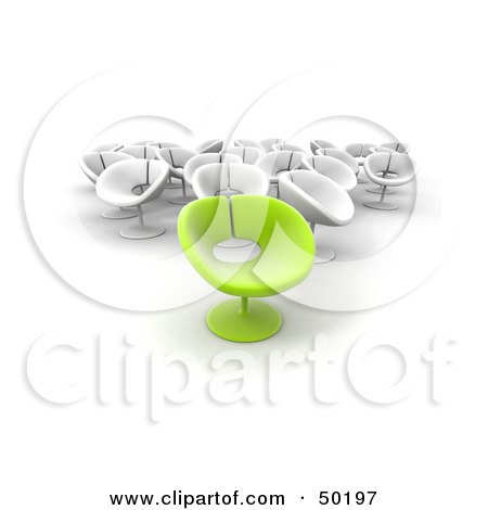 Royalty-Free (RF) Clipart Illustration of an Outstanding Green Chair In Front Of A Group Of White Chairs by Frank Boston