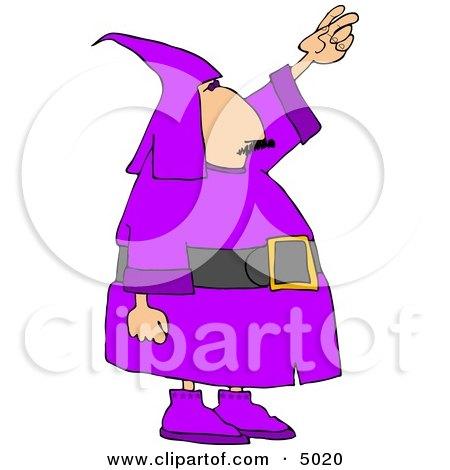 Man Wearing a Purple Wizard Costume On Halloween Clipart by djart