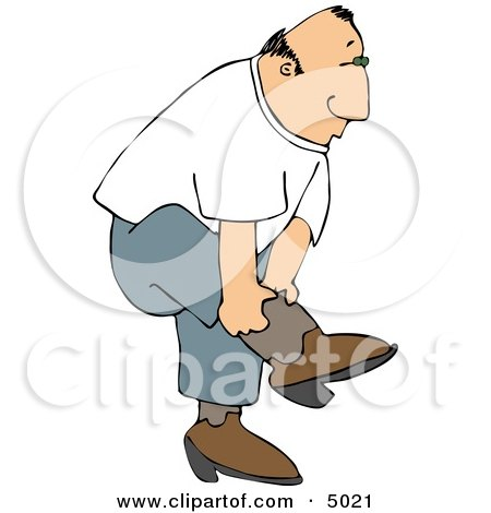 Country Man Putting On His Cowboy Boots Clipart