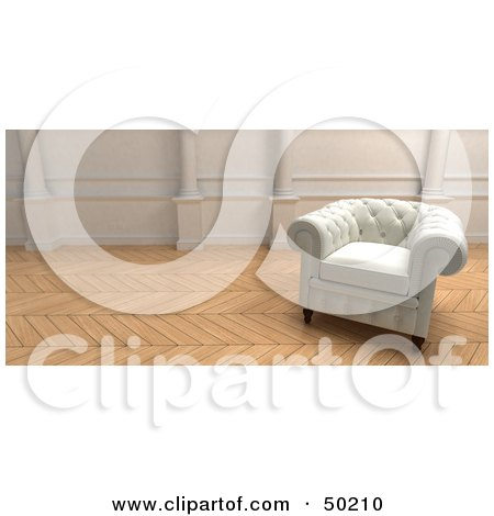 Royalty-Free (RF) Clipart Illustration of a White Armchair in a Room With Wooden Floors by Frank Boston