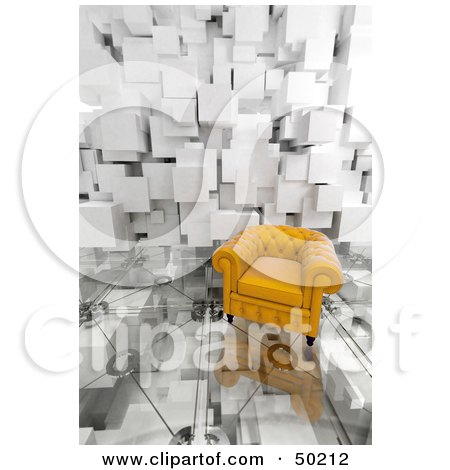 Royalty-Free (RF) Clipart Illustration of a Yellow Armchair On A Glass Floor With A Cubic Wall by Frank Boston