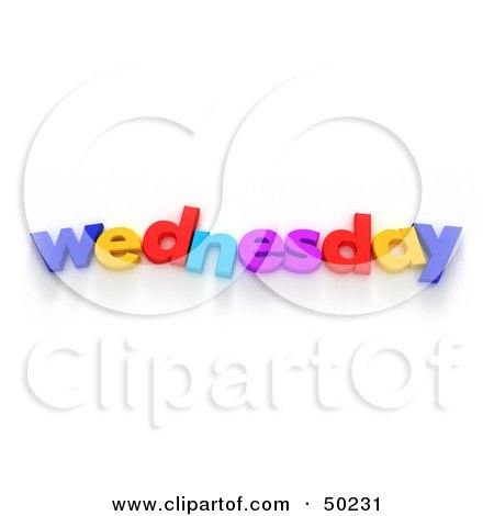 Royalty-Free (RF) 3D Clipart Illustration of Colorful Letters Spelling Out Wednesday by Frank Boston