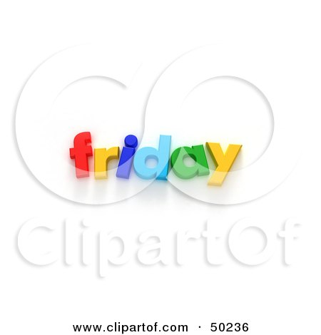 Royalty-Free (RF) 3D Clipart Illustration of Colorful Letters Spelling Out Friday by Frank Boston