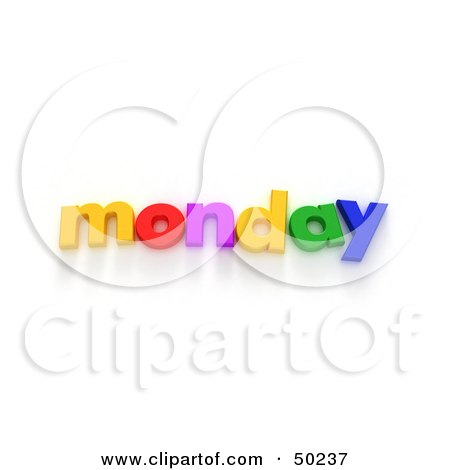 Royalty-Free (RF) 3D Clipart Illustration of Colorful Letters Spelling Out Monday by Frank Boston