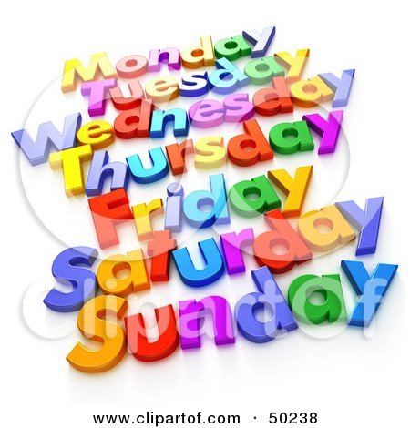 Royalty-Free (RF) 3D Clipart Illustration of Colorful Letters Spelling Out Week Days by Frank Boston