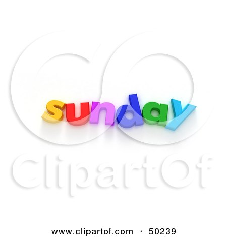 Royalty-Free (RF) 3D Clipart Illustration of Colorful Letters Spelling Out Sunday by Frank Boston