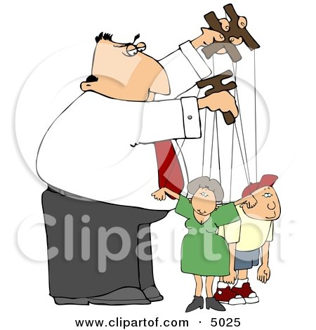 Puppeteer Man Controlling the People In His Life Clipart by Dennis Cox
