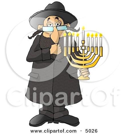 Religious Rabbi Jew Holding a Lit Jewish Menorah Clipart by djart
