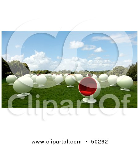 Royalty-Free (RF) Clipart Illustration of a Field of White Cocoon Chairs by Frank Boston
