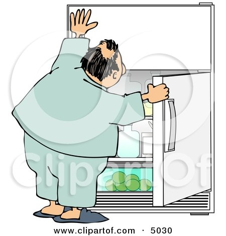 Humorous Obese Man Looking for Something to Eat in the Fridge Posters, Art Prints